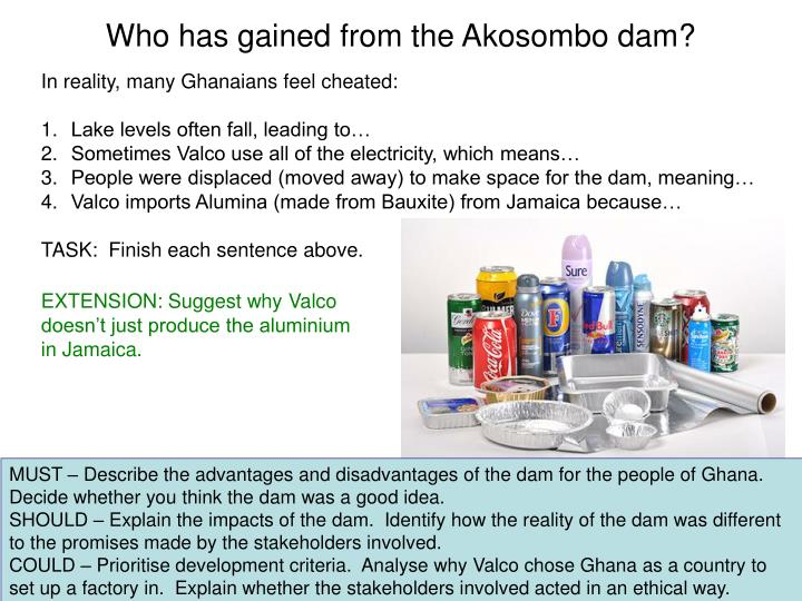 Who has gained from the Akosombo dam?