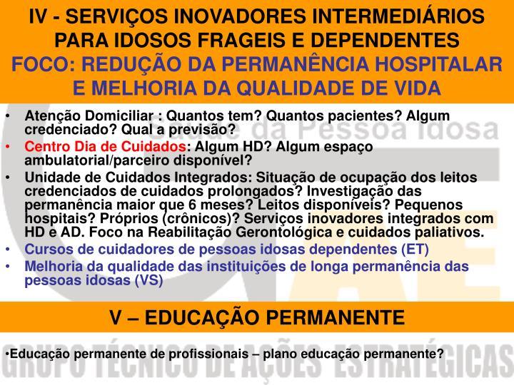 IV - SERVIÇOS INOVADORES INTERMEDIÁRIOS PARA IDOSOS FRAGEIS E DEPENDENTES