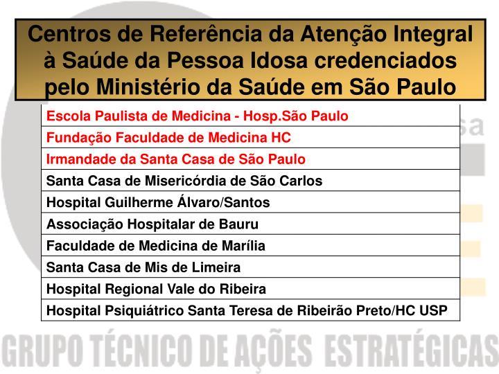 Centros de Referência da Atenção Integral à Saúde da Pessoa Idosa credenciados pelo Ministério da Saúde em São Paulo