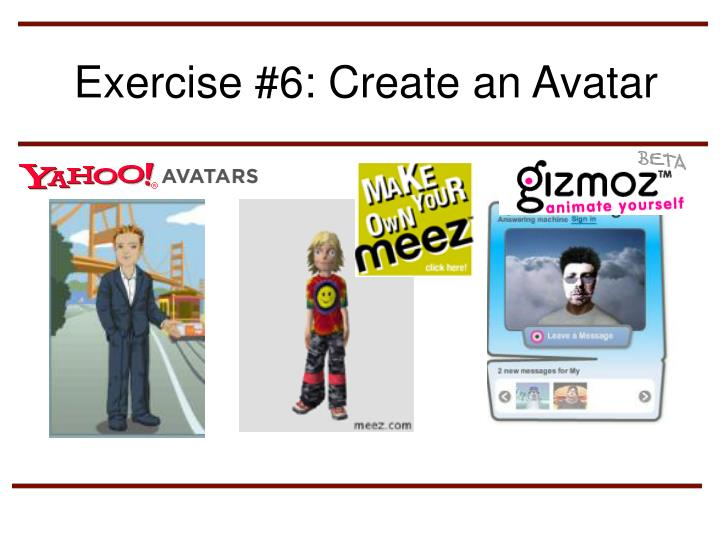 Exercise #6: Create an Avatar