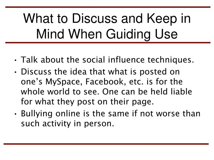 What to Discuss and Keep in Mind When Guiding Use