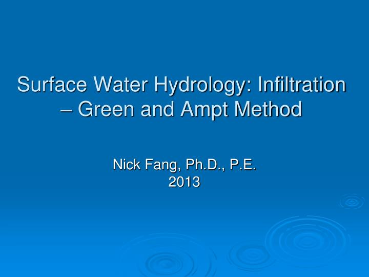 surface water hydrology infiltration green and ampt method n.