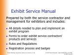 exhibit service manual