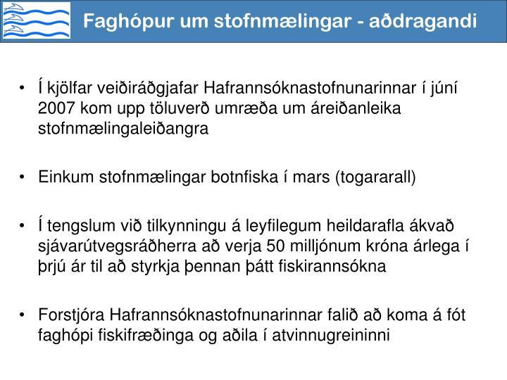Faghópur um stofnmælingar - aðdragandi