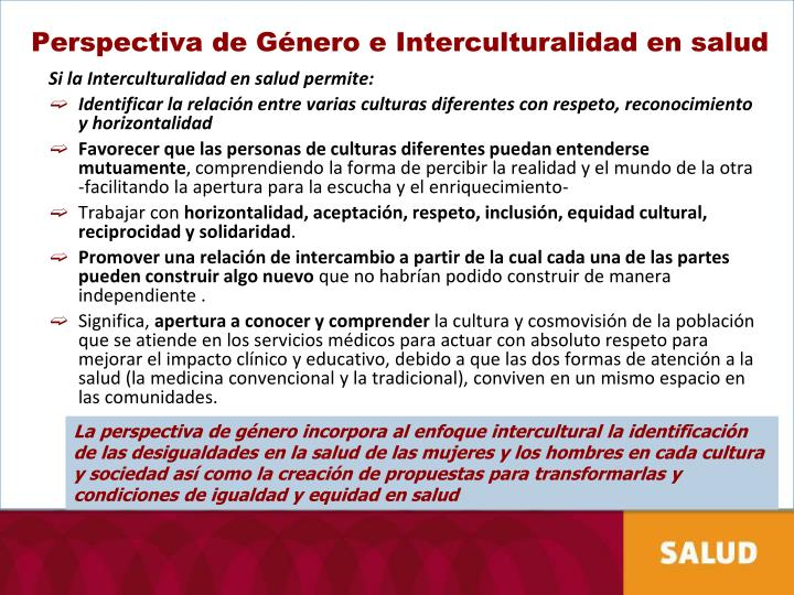 Perspectiva de Género e Interculturalidad en salud