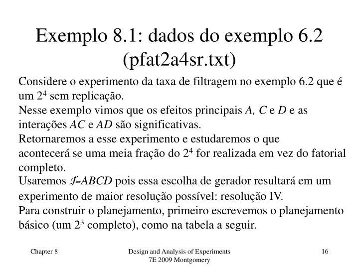 Exemplo 8.1: dados do exemplo 6.2 (pfat2a4sr.txt)