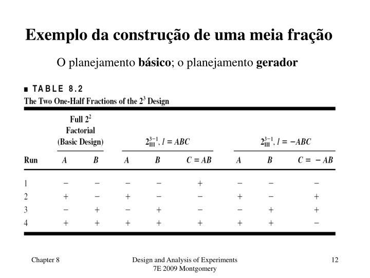 Exemplo da construção de uma meia fração