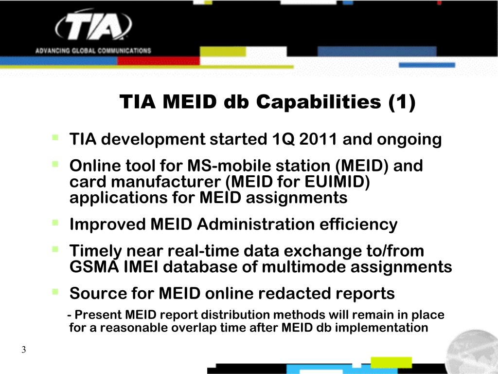 PPT - TIA MEID Database (db) Overview (updated from December 2011