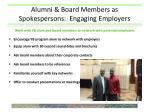 alumni board members as spokespersons engaging employers