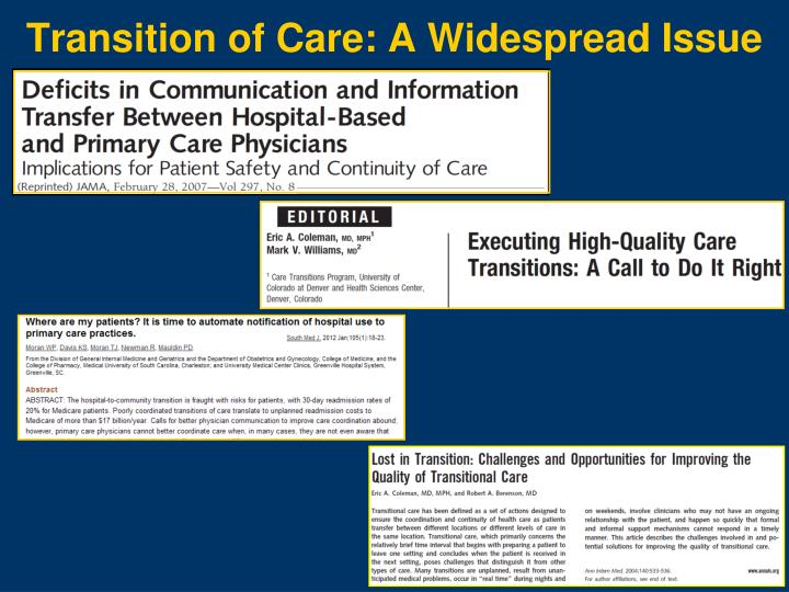Transition of Care: A Widespread Issue