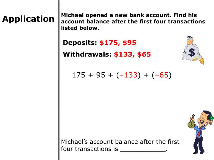 Michael opened a new bank account. Find his account balance after the first four transactions listed below.