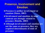 presence involvement and emotion