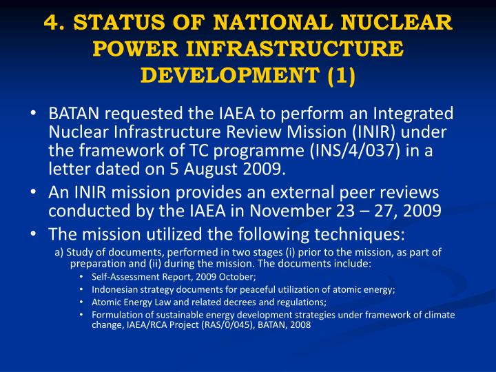 4. STATUS OF NATIONAL NUCLEAR POWER INFRASTRUCTURE DEVELOPMENT (1)
