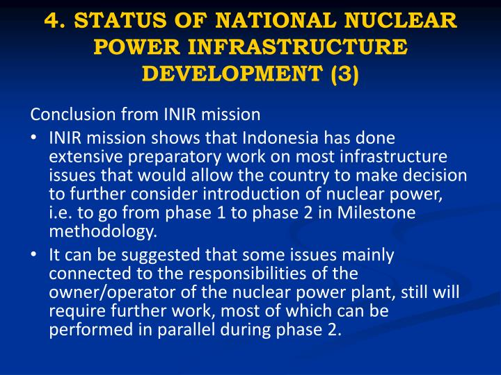 4. STATUS OF NATIONAL NUCLEAR POWER INFRASTRUCTURE DEVELOPMENT (3)