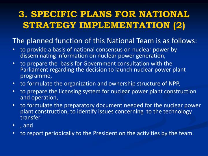 3. SPECIFIC PLANS FOR NATIONAL STRATEGY IMPLEMENTATION (2)