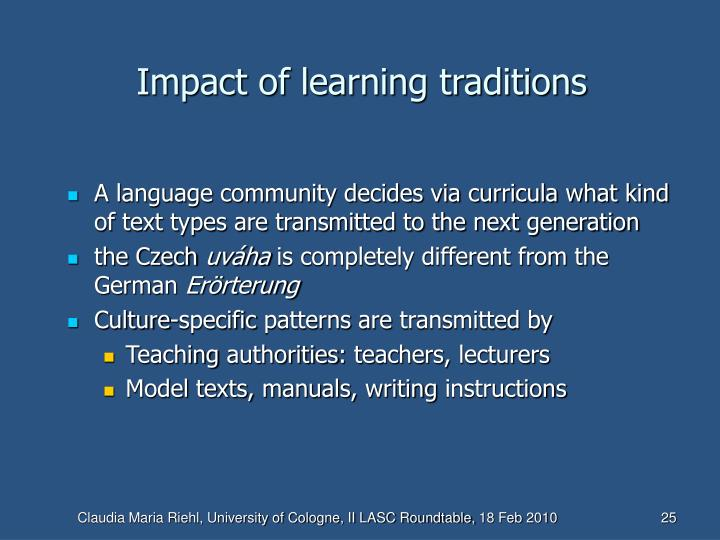 Impact of learning traditions