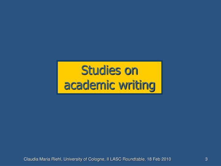 Studies on academic writing