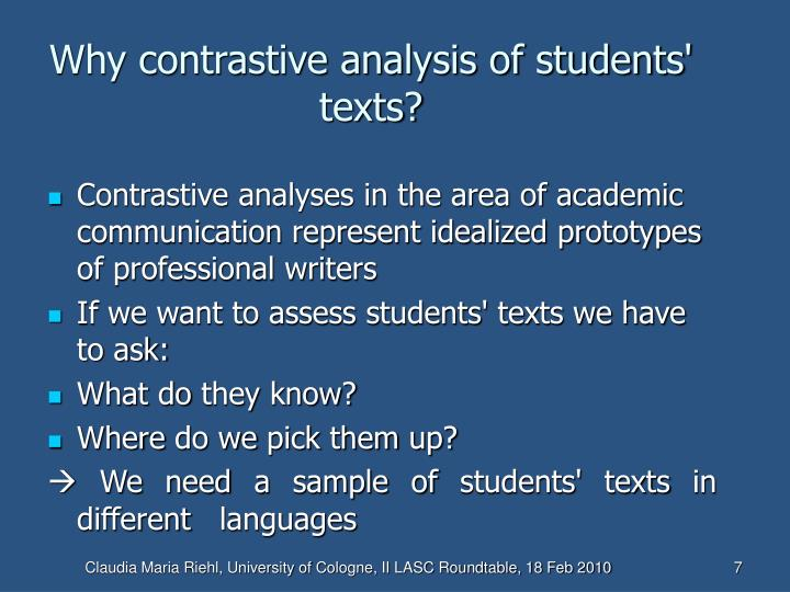 Why contrastive analysis of students' texts?
