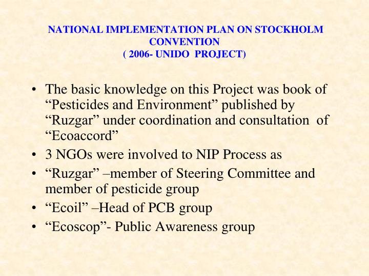 NATIONAL IMPLEMENTATION PLAN ON STOCKHOLM CONVENTION