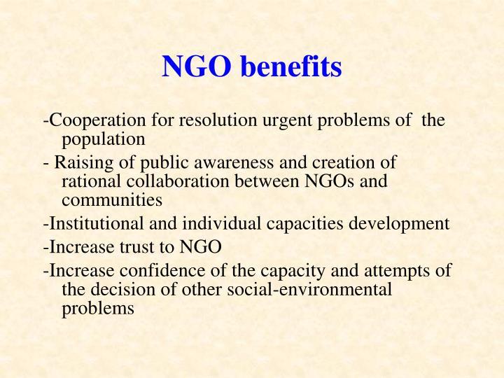 NGO benefits