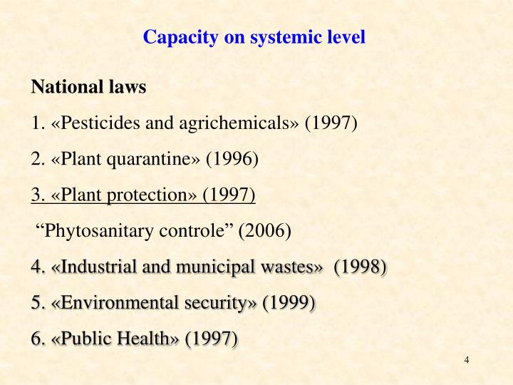 Capacity on systemic level
