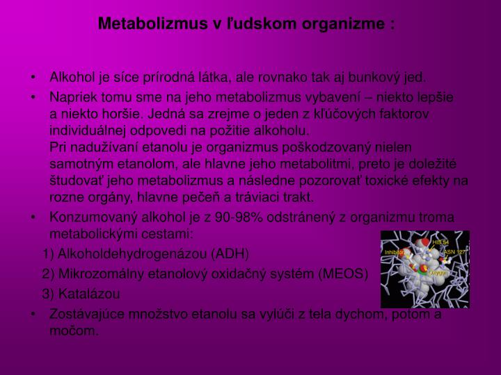 Metabolizmus vľudskom organizme :