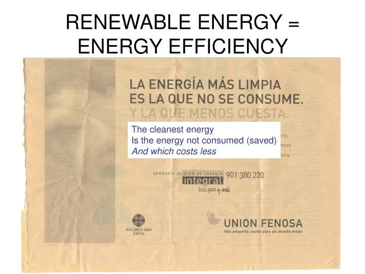 Renewable energy energy efficiency