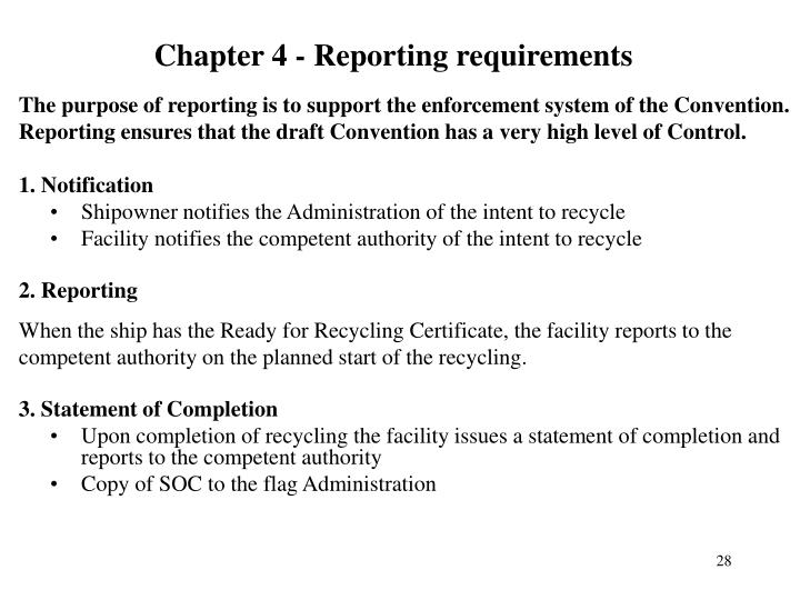 Chapter 4 - Reporting requirements