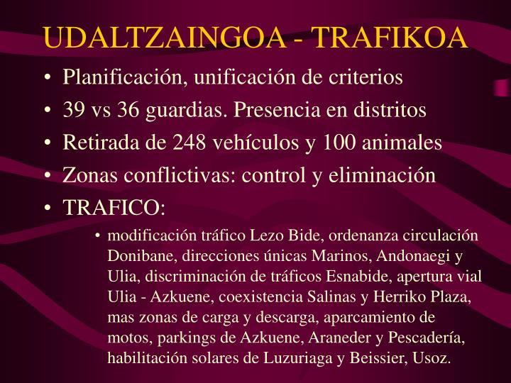 UDALTZAINGOA - TRAFIKOA