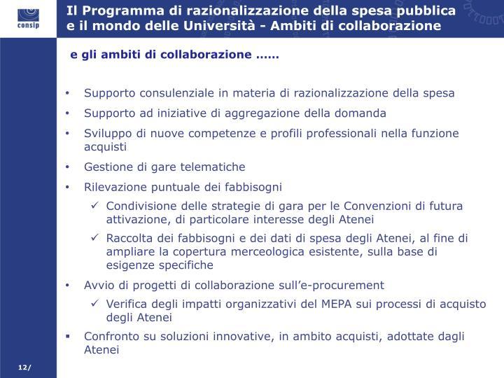 Il Programma di razionalizzazione della spesa pubblica e il mondo delle Università - Ambiti di collaborazione
