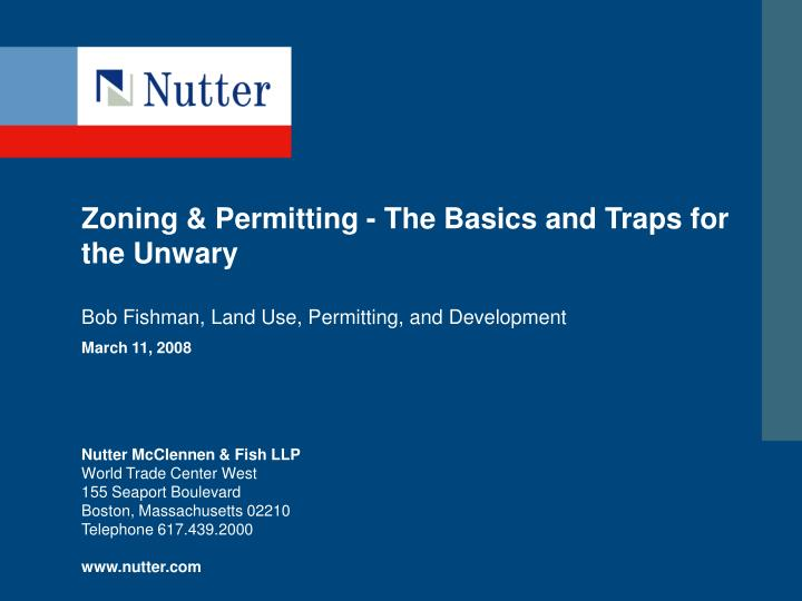 zoning permitting the basics and traps for the unwary n.
