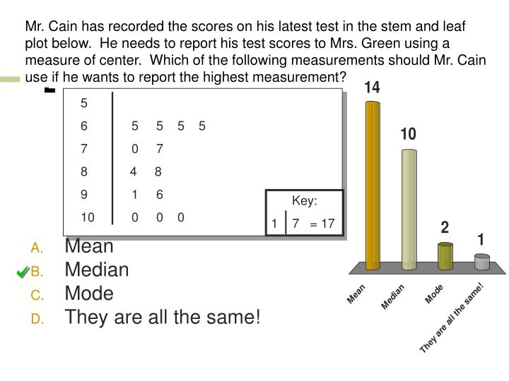 Mr. Cain has recorded the scores on his latest test in the stem and leaf plot below.  He needs to report his test scores to Mrs. Green using a measure of center.  Which of the following measurements should Mr. Cain use if he wants to report the highest measurement?