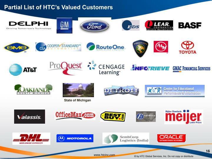 Partial List of HTC's Valued Customers