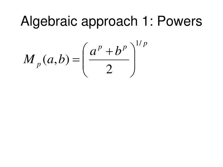 Algebraic approach 1: Powers