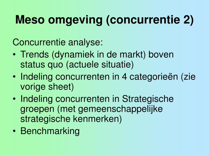 Meso omgeving (concurrentie 2)