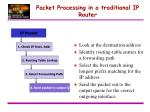 packet processing in a traditional ip router