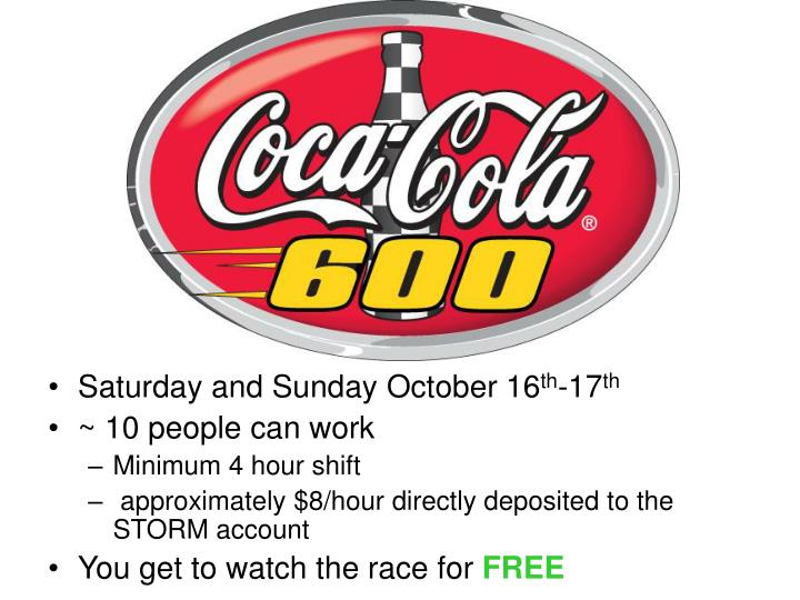 Saturday and Sunday October 16