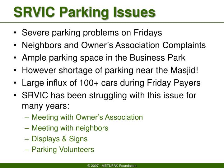 srvic parking issues n.