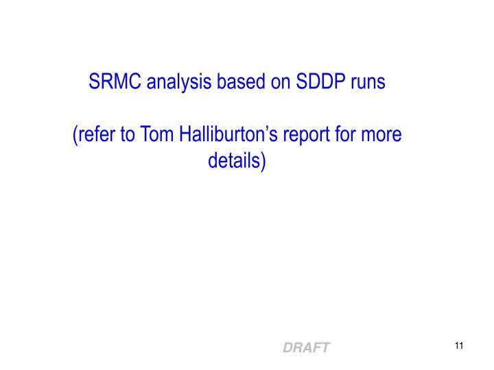 SRMC analysis based on SDDP runs