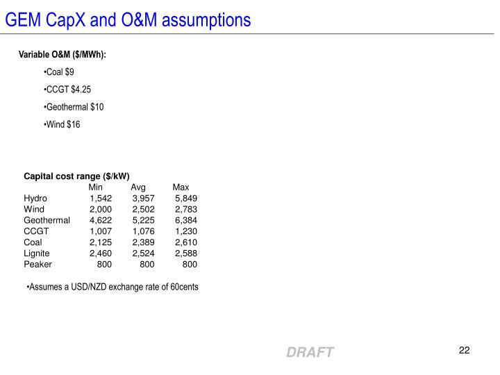 GEM CapX and O&M assumptions