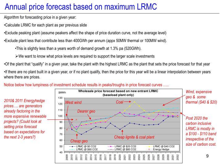 Annual price forecast based on maximum LRMC
