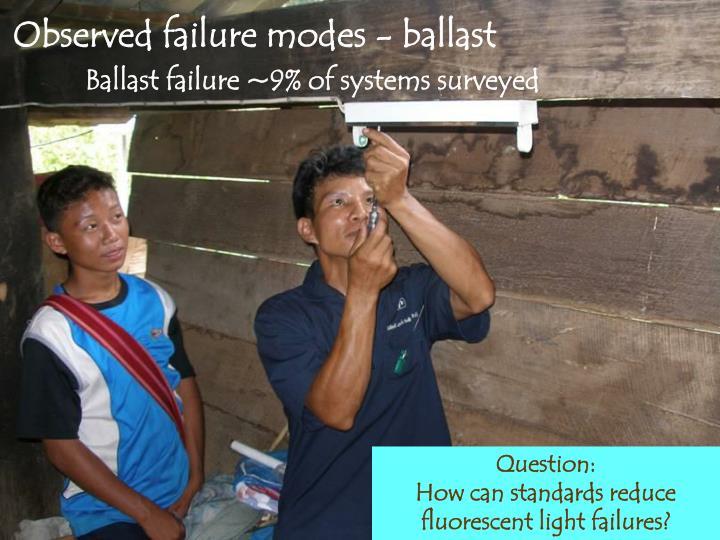 Observed failure modes - ballast