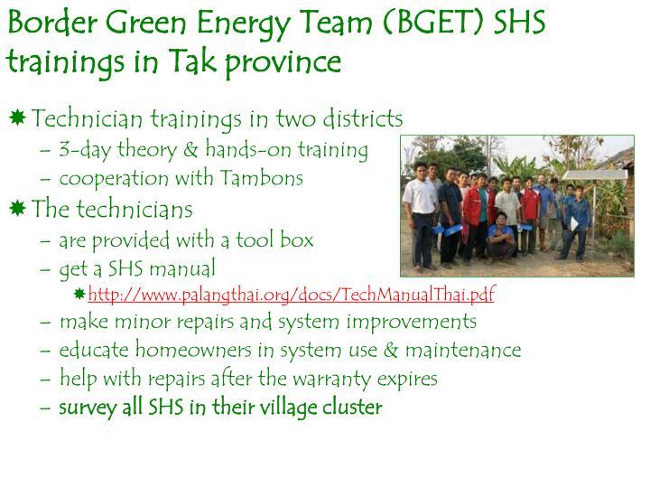 Border Green Energy Team (BGET) SHS trainings in Tak province