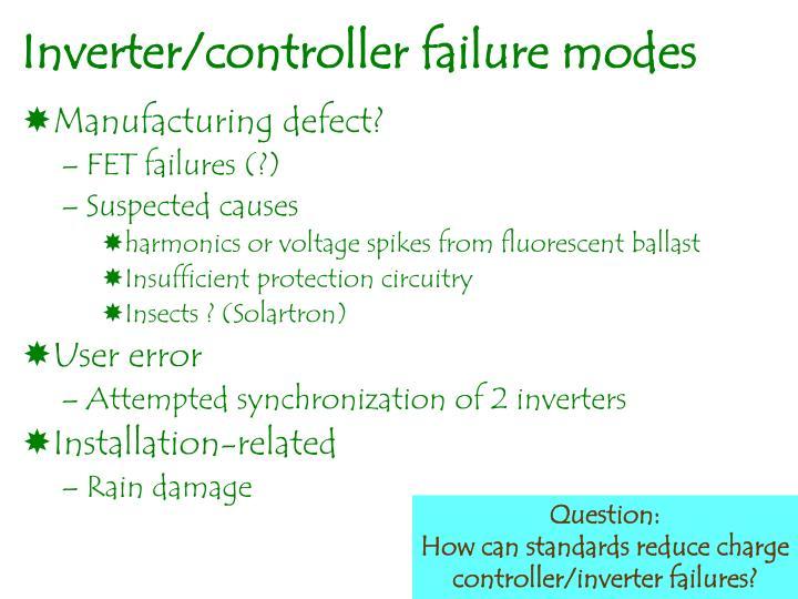 Inverter/controller failure modes