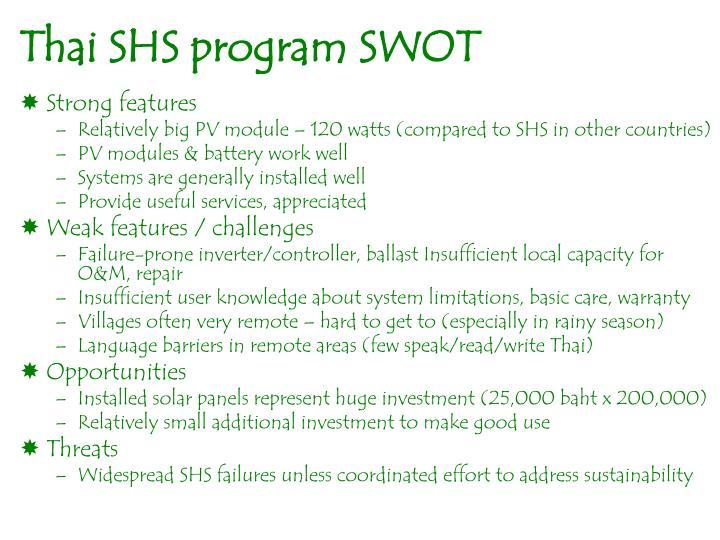 Thai SHS program SWOT