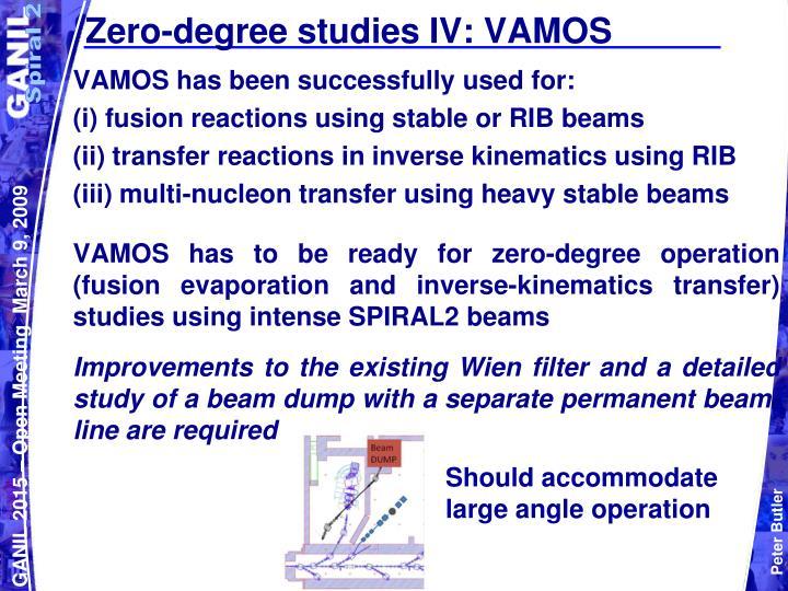 Zero-degree studies IV: VAMOS