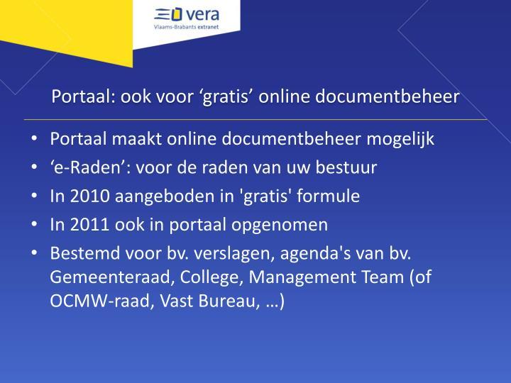 Portaal: ook voor 'gratis' online documentbeheer