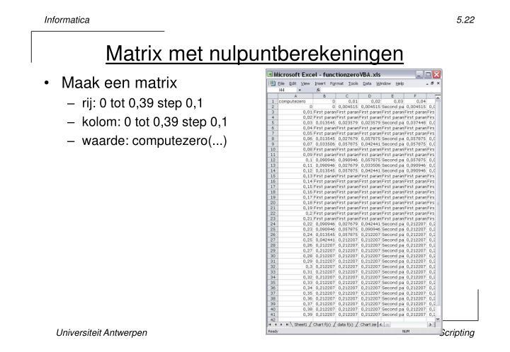 Matrix met nulpuntberekeningen