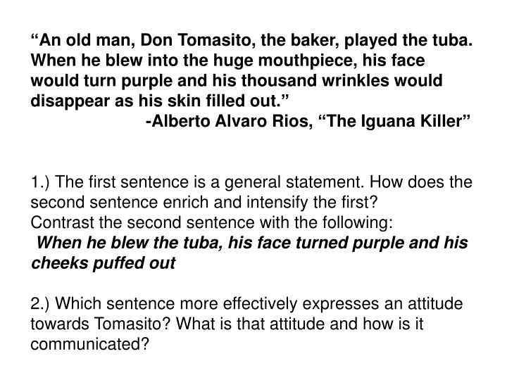 """An old man, Don Tomasito, the baker, played the tuba. When he blew into the huge mouthpiece, his face would turn purple and his thousand wrinkles would disappear as his skin filled out."""