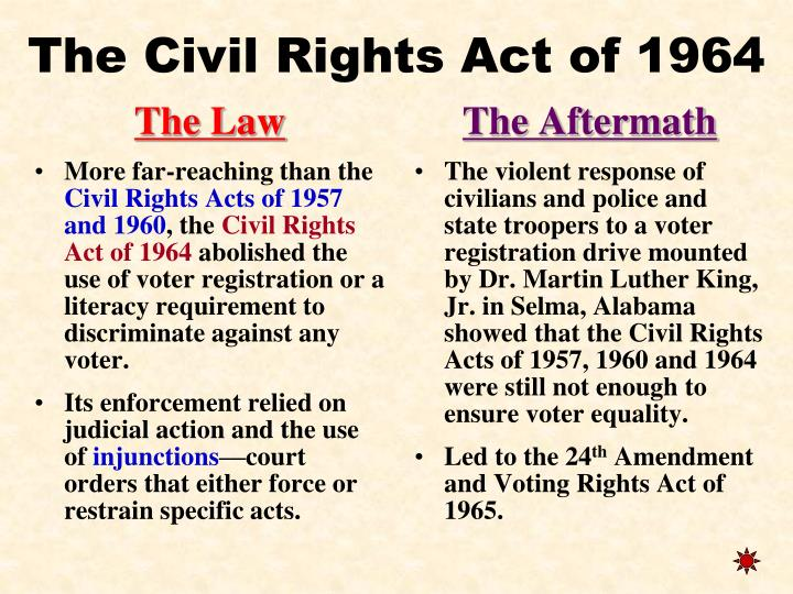 why was the civil rights act of 1964 so important Let's use the 1964 civil rights act as our focal point it was arguably the most important of the many civil rights bills passed in the middle part of the 20th century it outlawed many types of racial and sexual discrimination, including access to.